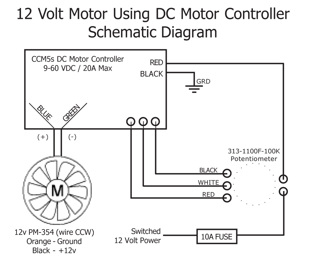 The motors wiring, both positive and negative need to go to the Controller.  Here is the Schematic Diagram for a 12 Volt Motor.