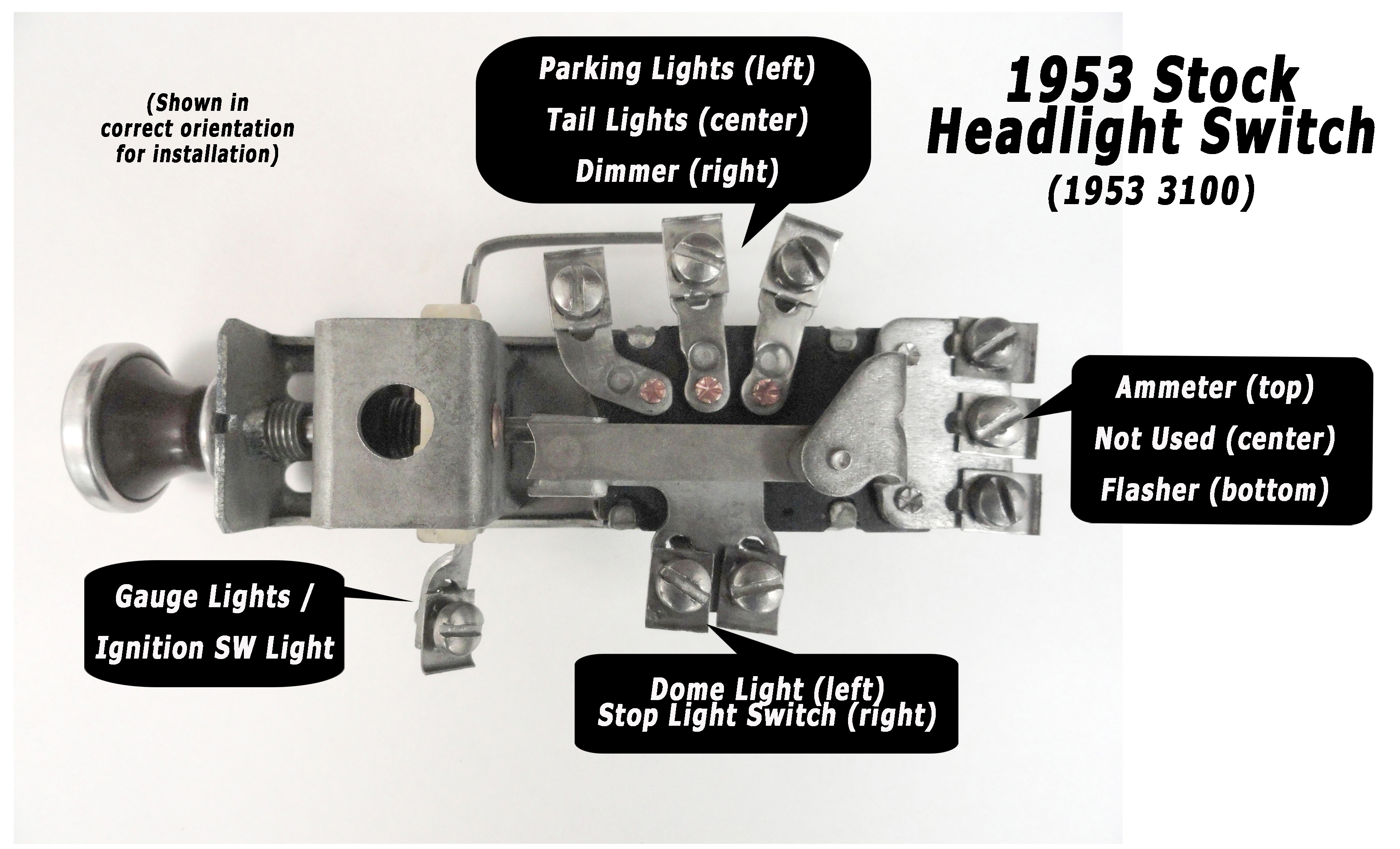 1953 HeadlightSwitchDiagramlg ad truck wiring made easy! 6 volt universal wiring harness at crackthecode.co