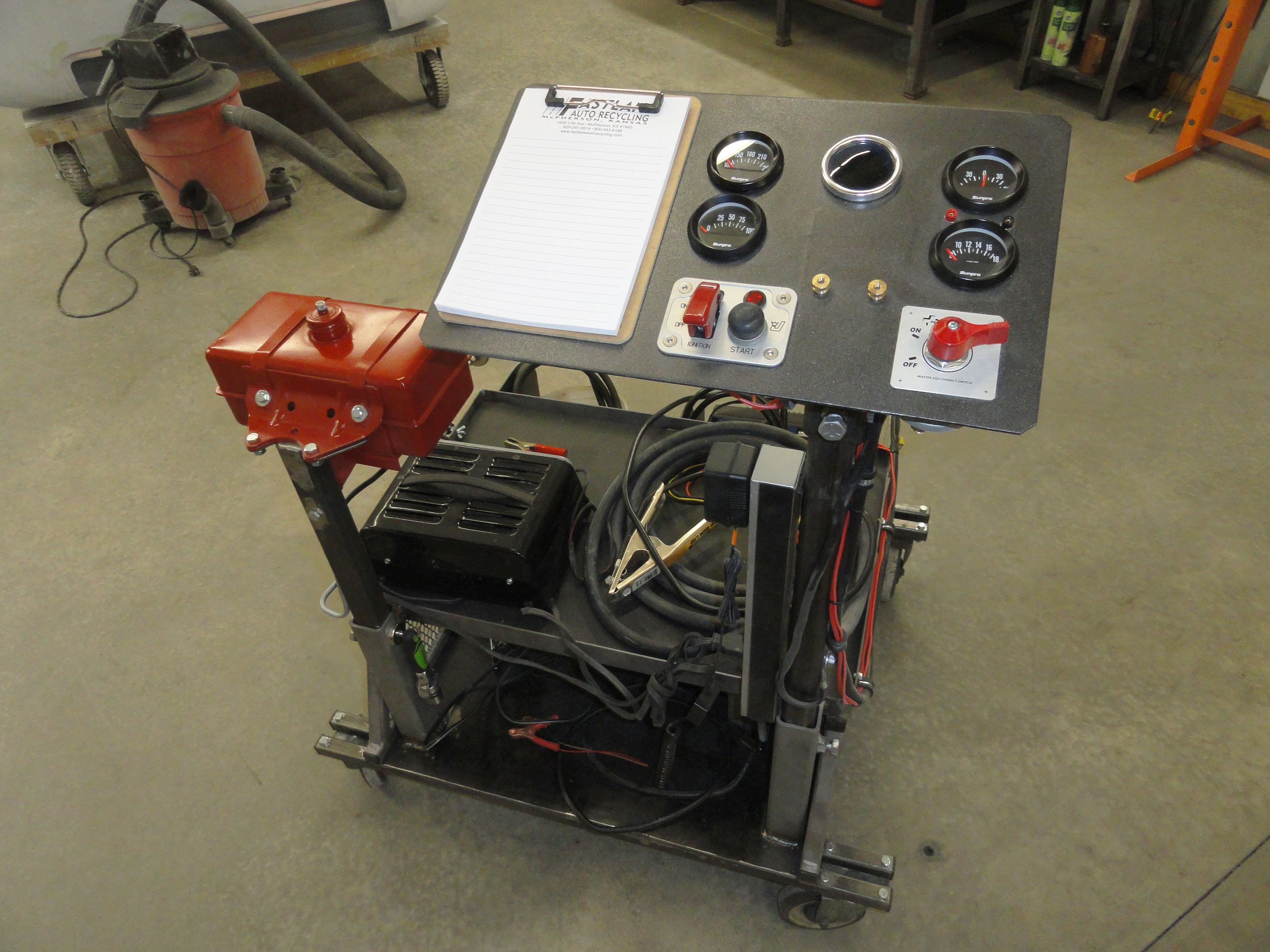 Most guys when they make an engine stand, incorporate all of the gauges,  switches, etc directly on the stand.